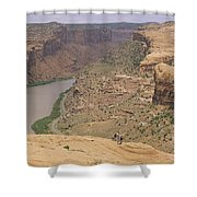 Mountain Bikers On Slickrock Trail Shower Curtain