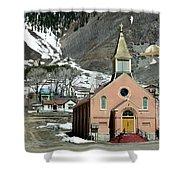 Mountain Chapel With Red Steps Shower Curtain by Lorraine Devon Wilke