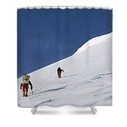 Mountain Climbers Use Safety Ropes Shower Curtain