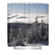 Mountain During Winter Shower Curtain