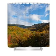 Mountain Foliage And Blue Skies Shower Curtain