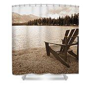Mountain Lake View Shower Curtain