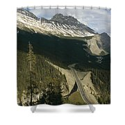 Mountain Peaks Along The Icefields Shower Curtain