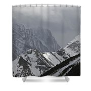 Mountain Peaks In Clouds, Spray Lakes Shower Curtain