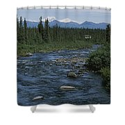 Mountain Stream With Cabin In Evergreen Shower Curtain