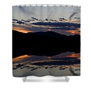 Mountain Sunset Reflection Shower Curtain
