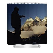 Mountaineers Rest At Their Campsite Shower Curtain