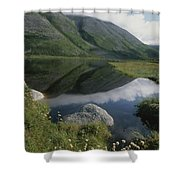 Mountains And Clouds Are Reflected Shower Curtain