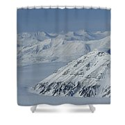 Mountains And Glaciers Near Ny Alesund Shower Curtain