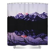 Mountains And Lake At Icefields Parkway Shower Curtain