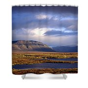 Mountains And Lakes, Dempster Highway Shower Curtain