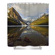 Mountains Reflected In Lake Louise Shower Curtain