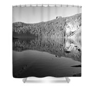 Mowich Lake Mono Print Shower Curtain