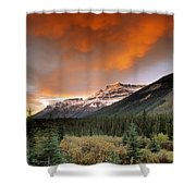Mt. Amery And Dramatic Clouds, Banff Shower Curtain