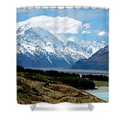 Mt Cook Across Lake Pukaki Shower Curtain