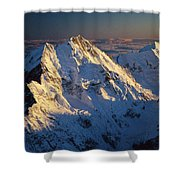 Mt Cook Or Aoraki And Mt Tasman, Aerial Shower Curtain