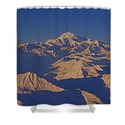 Mt. Mckinley Sunset From Above Shower Curtain