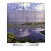 Mt Rainier An Active Volcano Encased Shower Curtain