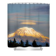 Mt Rainier Sunset With Lenticular Clouds Shower Curtain
