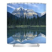 Mt Robson Highest Peak In The Canadian Shower Curtain by Tim Fitzharris