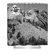 Mt. Rushmore Full View In Black And White Shower Curtain