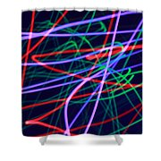 Multi-colored Glowing Light Streaks Shower Curtain