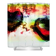 Multi Colored Hearts Shower Curtain