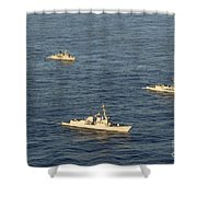 Multinational Navy Ships Move Shower Curtain