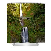 Multnomah Falls At Summer Solstice - Posterized Shower Curtain