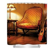 Music - String - The Chair And The Lute Shower Curtain by Mike Savad