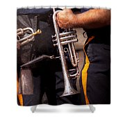Music - Trumpet - Police Marching Band  Shower Curtain by Mike Savad