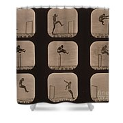 Muybridge Locomotion Of Man Jumping Shower Curtain by Photo Researchers