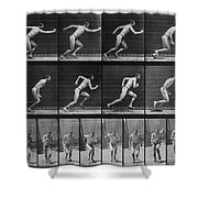 Muybridge Locomotion, Man Running, 1887 Shower Curtain