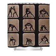 Muybridge Locomotion, Men Wrestling Shower Curtain