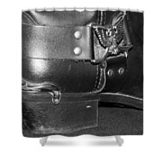 My Biker Cowboy Boot In Black And White Shower Curtain