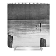 My First Walk On Water Bw Shower Curtain
