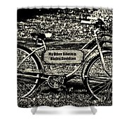 My Other Bike Is A Harley Davidson In Sepia Shower Curtain