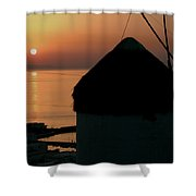 Mykonos Island Sunset Greece Shower Curtain