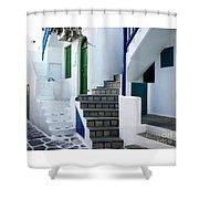 Mykonos Stairs Shower Curtain
