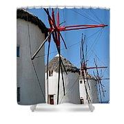 Mykonos Windmills Shower Curtain