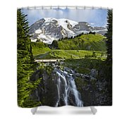 Myrtle Falls And Mount Rainier Mount Shower Curtain by Tim Fitzharris