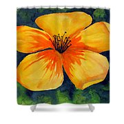 Mysterious Yellow Flower Shower Curtain