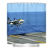 N Fa-18c Hornet Lands Aboard Shower Curtain
