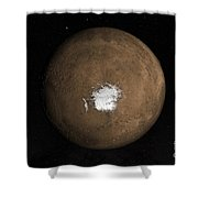 Nadir View Of The Martian South Pole Shower Curtain