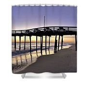 Nags Head Fishing Pier At Sunrise - Outer Banks Scenic Photography Shower Curtain