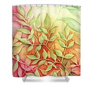Nandina Leaves Shower Curtain