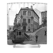 Narrow Streets And Streetcar In Lisbon Shower Curtain