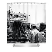 Nathan's Crowd In Coney Island 2 Shower Curtain