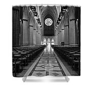 National Cathedral Interior Bw Shower Curtain