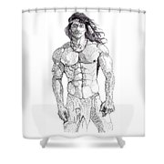 Native American Hunk Shower Curtain